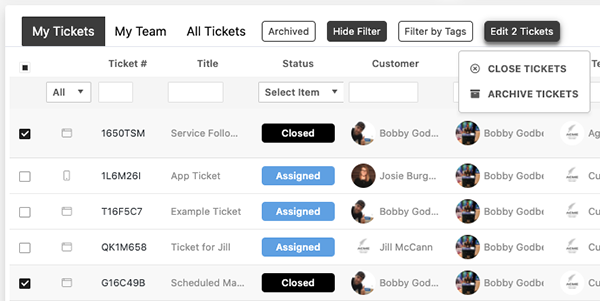 Bulk Ticket Actions